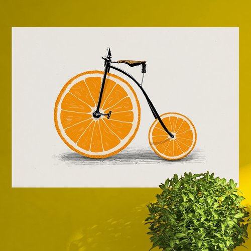 My Wonderful Walls Orange Bicycle Wall Decal