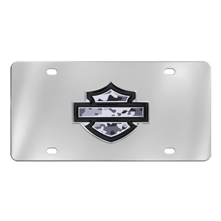 Harley-Davidson bar and shield with Grey Camo Vinyl Inlay Stainless Steel Vanity License Plate