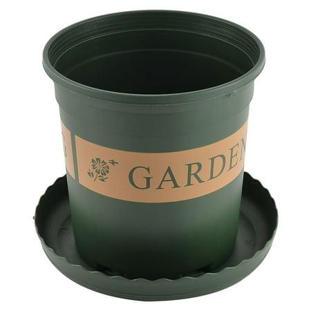 Unique Bargains Plastic Round Shape Flower Pot Plant Planter Green 1.5 Gallon w Tray (Large Plastic Flower Pots)