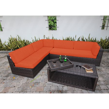 bellini sorano wicker 4 piece sunbrella fabric deep seating sofa set