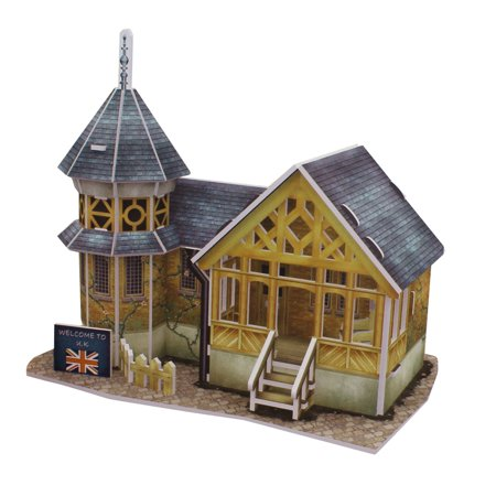 3D Foam Julirtte Villa Design Assembling Puzzle Toy Steel Blue Wood Color