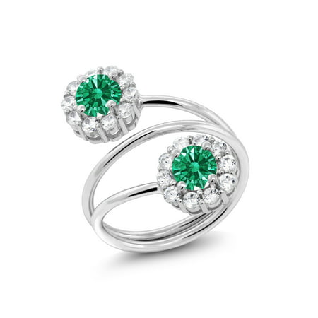 55871c5c8 Gem Stone King - 925 Silver Fashion Right-Hand Ring Set with Green Zirconia  from Swarovski - Walmart.com