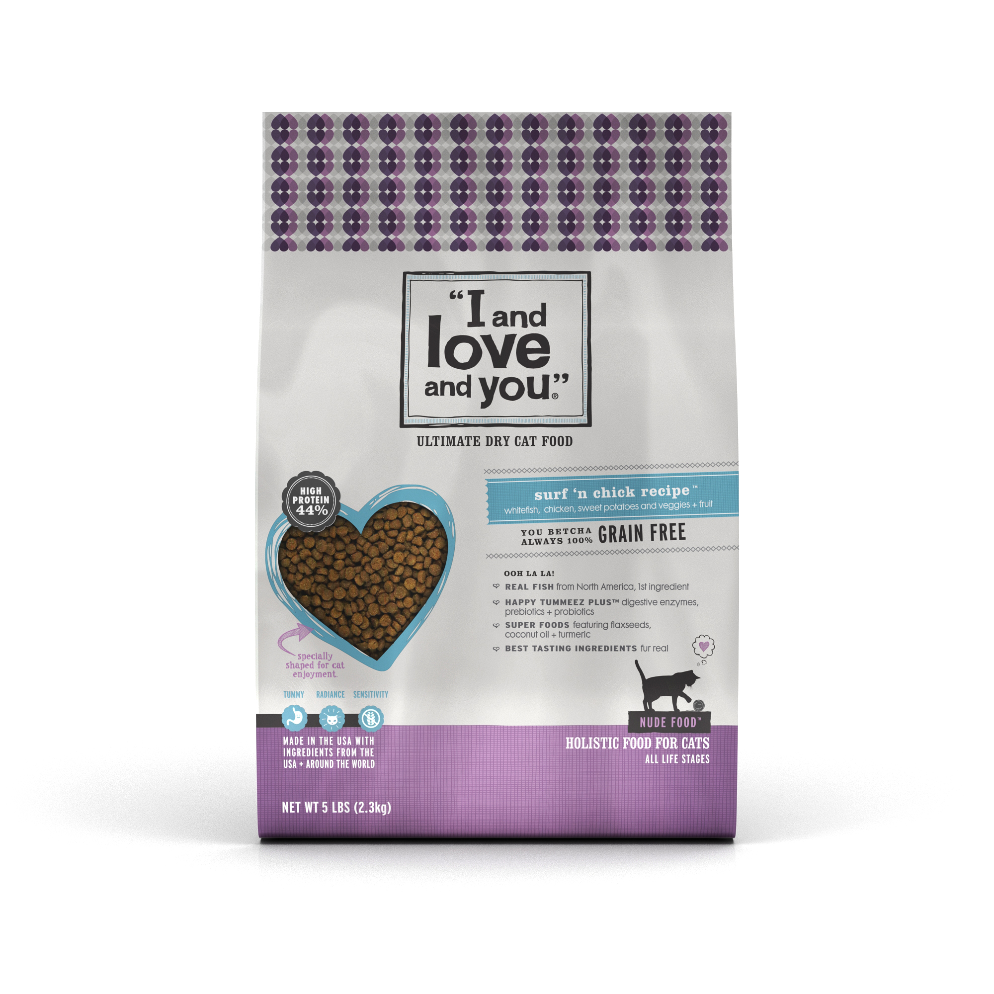 """""""I and love and you."""" Nude Grain-Free Surf n' Chick Dry Cat Food, 5 lb"""