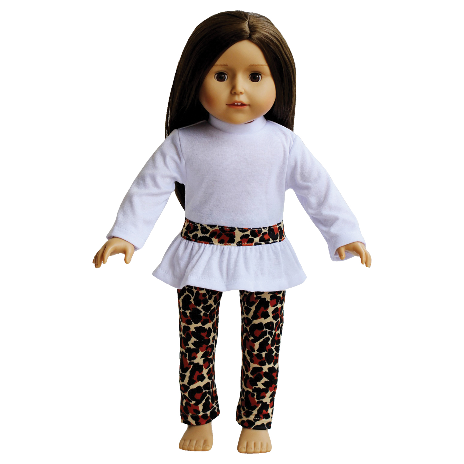 Animal Print Leggings and White Top for Dolls- 18 inch Doll Clothing