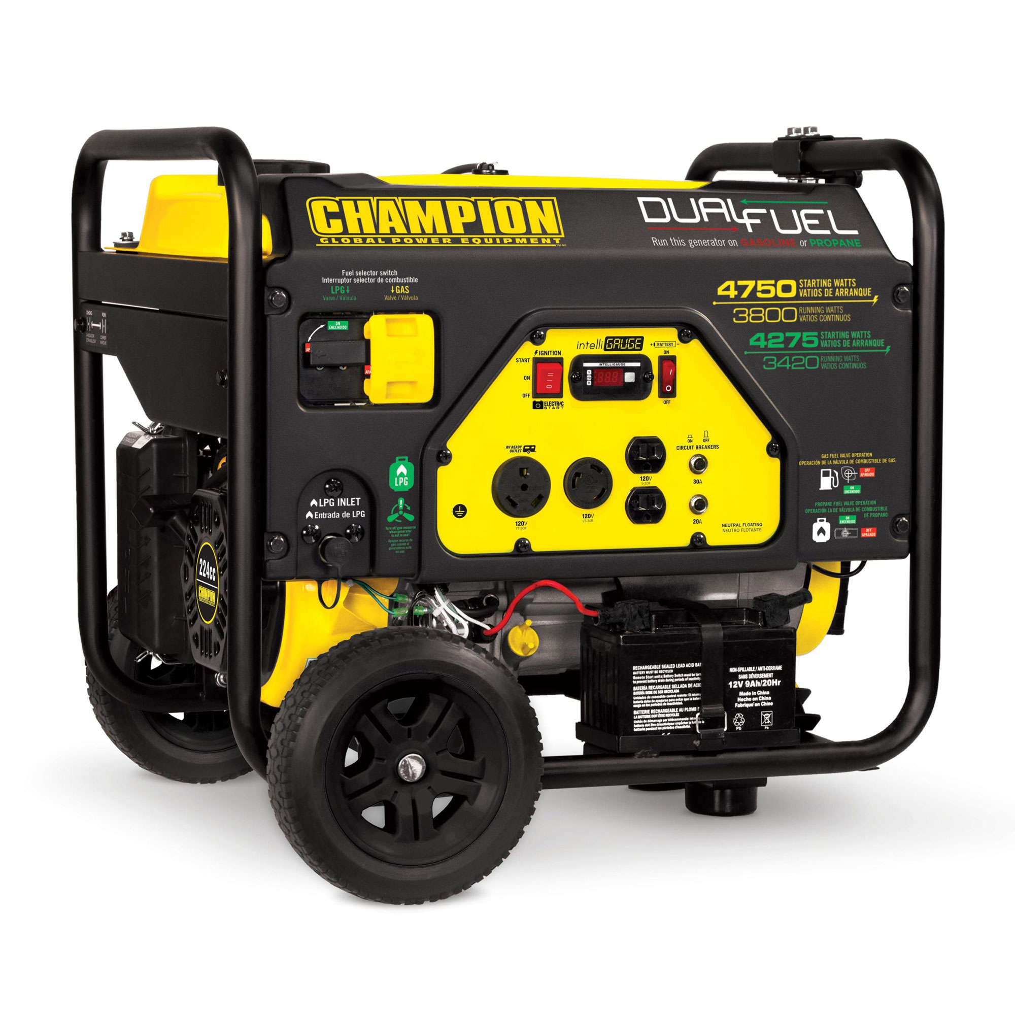 Champion 76533 3800-Watt Dual Fuel RV Ready Portable Generator with Electric Start