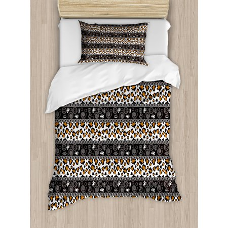 African Twin Size Duvet Cover Set, Traditional Borders Cheetah Skin with Abstract Spirals and Circles, Decorative 2 Piece Bedding Set with 1 Pillow Sham, Pale Coffee Brown White, by Ambesonne ()