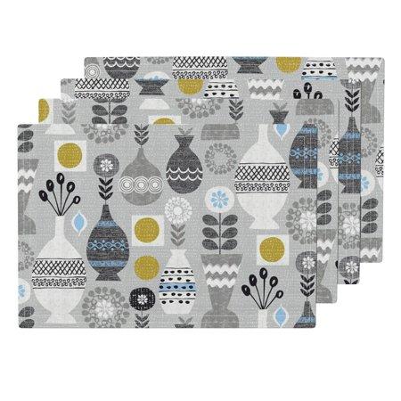 Cloth Placemats Modern Vases Retro Scandinavian Vases Yellow Gray Mod Set of 4 ()