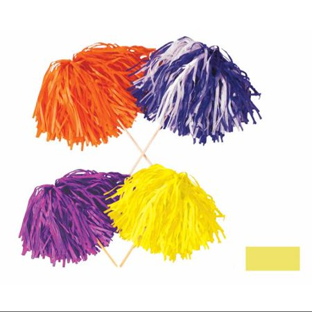 Club Pack of 144 Solid Yellow Pep Rally Tissue Shaker Pom Pom Accessories (Halloween Pep Rally Themes)
