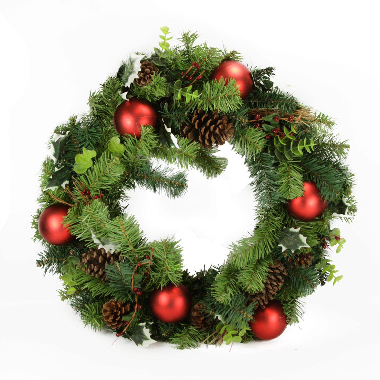 "DAK 24"" Unlit Pine Cone and Eucalyptus Artificial Christmas Wreath"