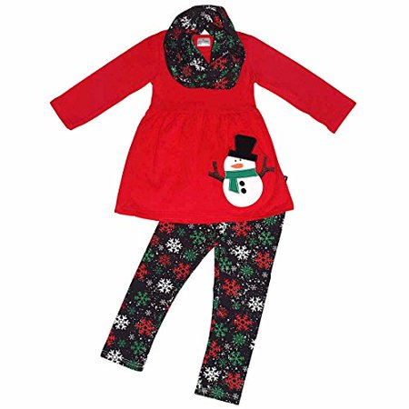 Girls Christmas Snowman 3 Piece Winter Outfit (7/XXL, Red)