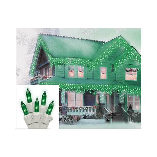 Set of 100 Green Icicle Christmas Lights - White Wire