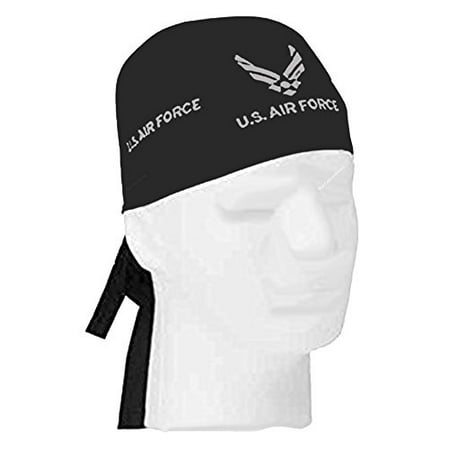 Air Force Doo Rag Durag Cap Black Head Wrap Silver Wings Logo Emblem