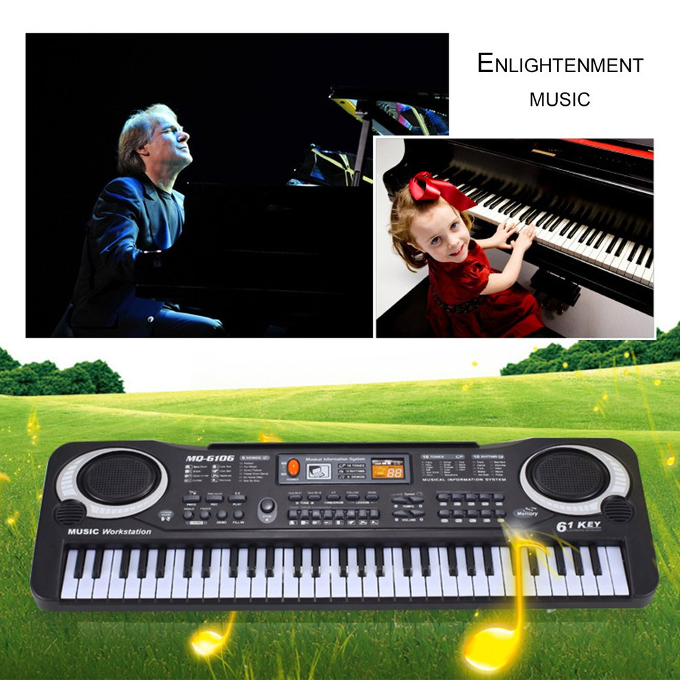 61 Keys Electronic Piano Keyboard With Microphone Children Musical Instrument by