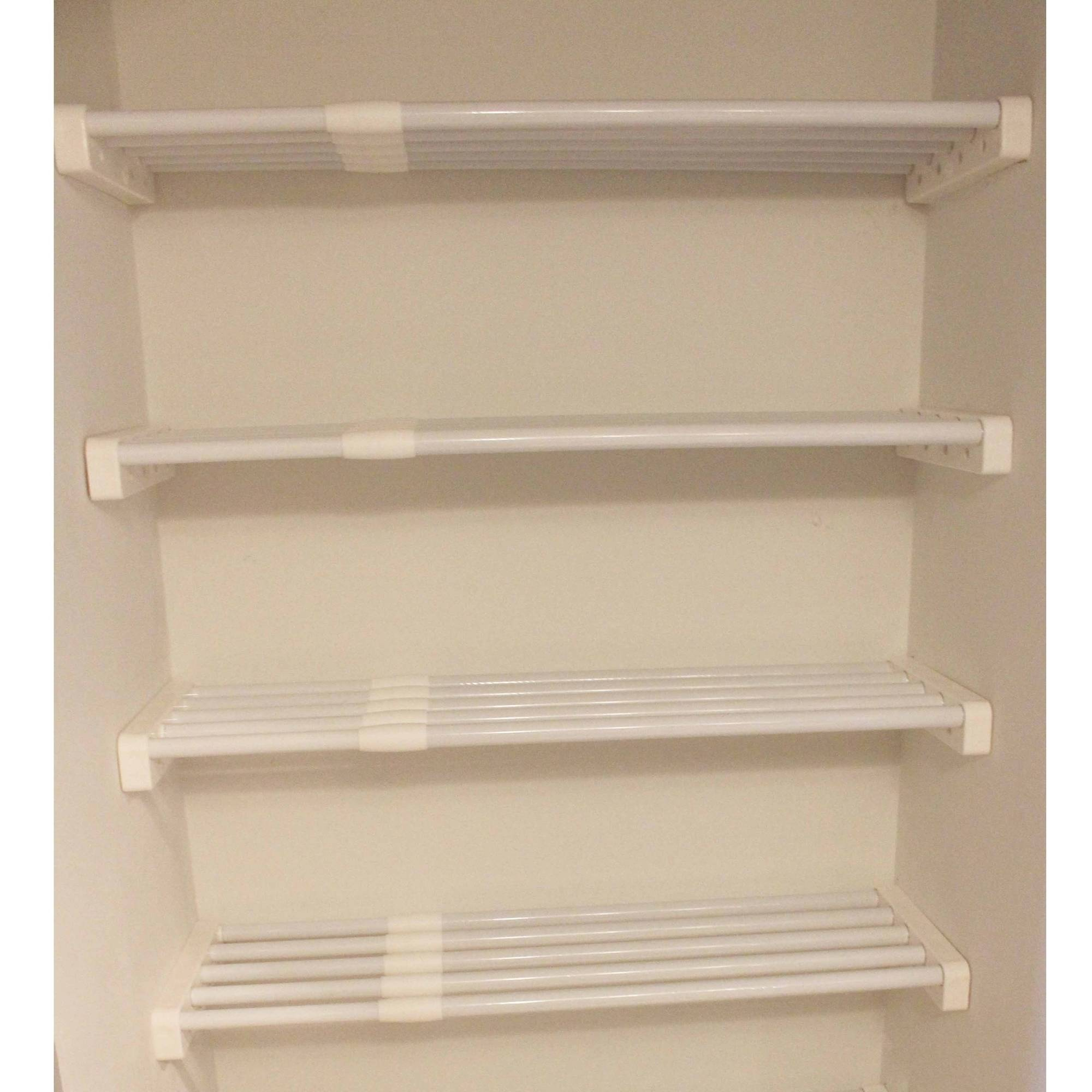 Ez Shelf Expandable Linen Closet Kit Four 28 Quot 48 Quot Expandable Shelves White Walmart Com