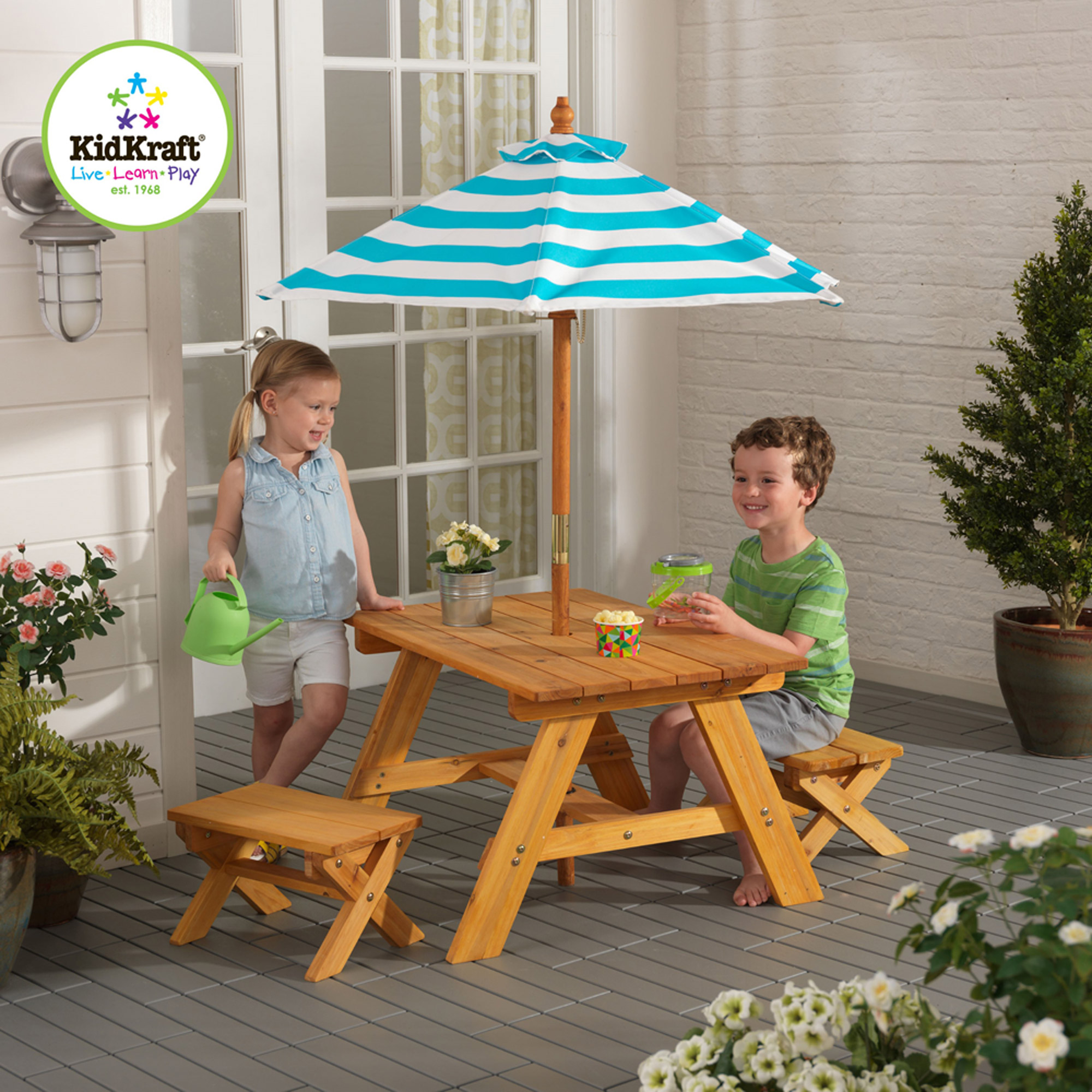 Outdoor Table Benches Umbrella Turquoise White Wood Children