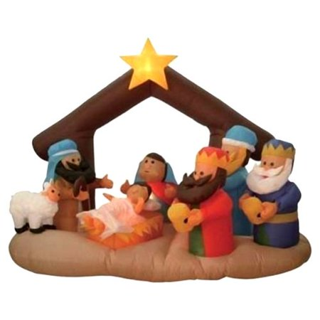 The Holiday Aisle Christmas Inflatable Nativity Scene Under Stable Decoration for $<!---->