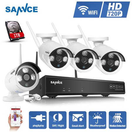 4CH Wireless CCTV System 720P HD NVR kit Outdoor IR Night Vision IP Camera Wifi Security Camera kit Home Security System Surveillance Kit With 1TB Hard Drive Disk