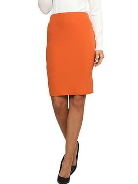 Doublju Women's Mid Knee Length H Line Pencil Skirt 2 (Plus Size Available)