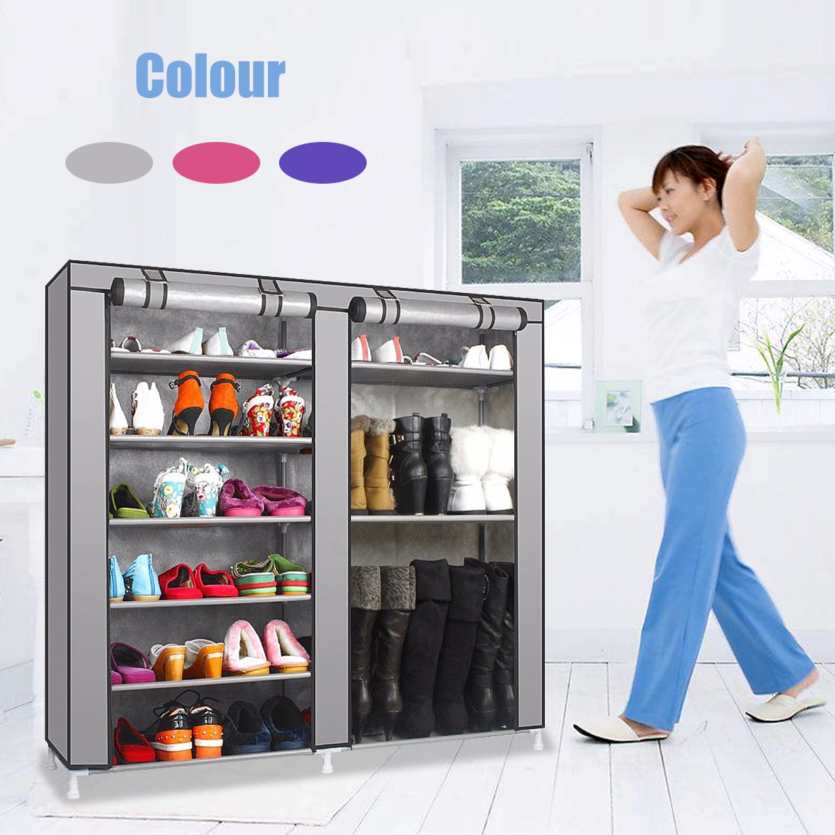 9 Layer 2 Rows Double Shoe Boot Closet Rack Shelf Storage Organizer Cabinet Portable with Fabric Cover