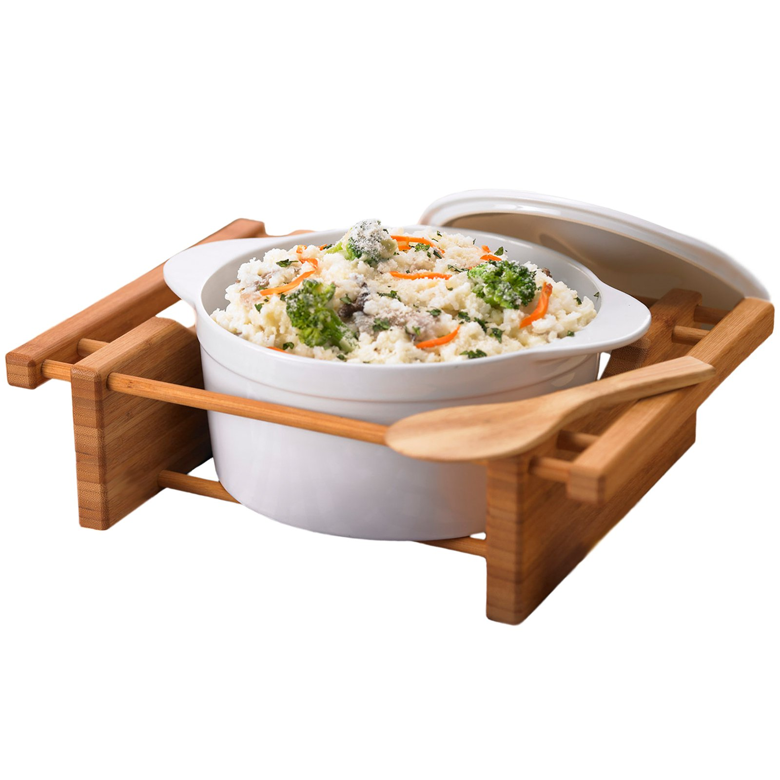 Creative Home Bamboo and Stoneware Grand Buffet Covered Casserole Bakeware Dish with Bamboo Cradles