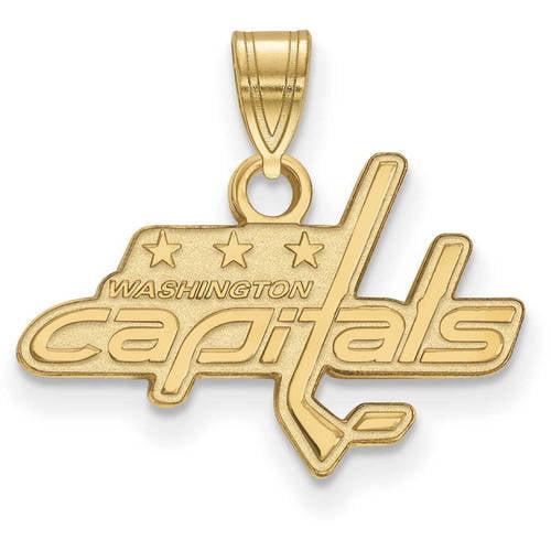 LogoArt NHL Washington Capitals 14kt Gold-Plated Sterling Silver Large Pendant