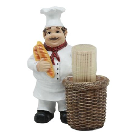 Pastry Head Chef Jean Holding Bread With Faux Wicker Toothpick Holder (Amberina Toothpick Holder)
