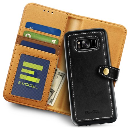 Galaxy S8 Plus Case, Evocel [Detachable Wallet Case] [Slim Profile] [3 Card Slots] [Side Pocket] [Premium Faux Leather] Renaissance Series Phone Case for Galaxy S8+ (SM-G955) (2017 Release), Black