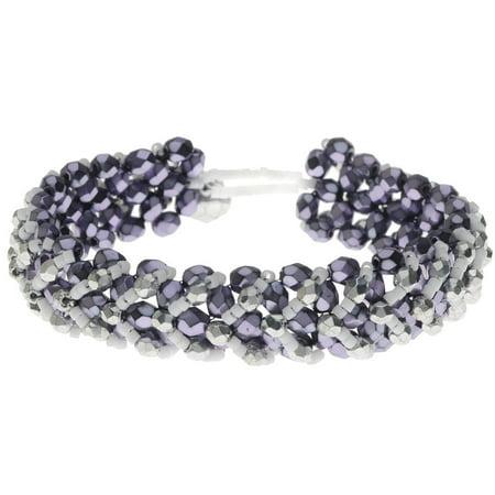 Chevron Right Angle Weave Bracelet - Purple/Silver - Exclusive Beadaholique Jewelry Kit