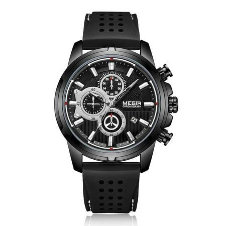 megir 2101 Business Quartz Sports Men Watch 3ATM Waterproof Big Dial Large Face Wrist Watch Microsecond Second Minute Chronograph Sub-dials Calendar Clock with Silicone Strap Band for Men