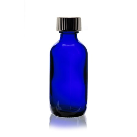 2 oz Cobalt Blue Boston Round Glass Bottle - w/ Poly Seal Cone Cap - pack of 12