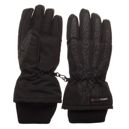 Swiss Tech Youth Waterproof Black Ski Geometric Skeleton Glove with Thinsulate M-80 Fleece Lining and Full Palm