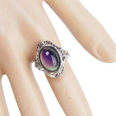 Gypsy Boho Adjustable Oval Changing Mood Ring Finger