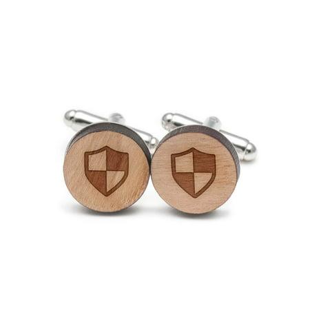 Symbol Cufflinks Cufflinks - Checkered Shield Symbol Cufflinks, Wood Cufflinks Hand Made in the USA