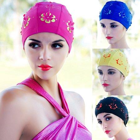 Women Adult Durable Stretch Swim Caps Polyester Bathing Hat Multi-color (Nemo Swim Cap)