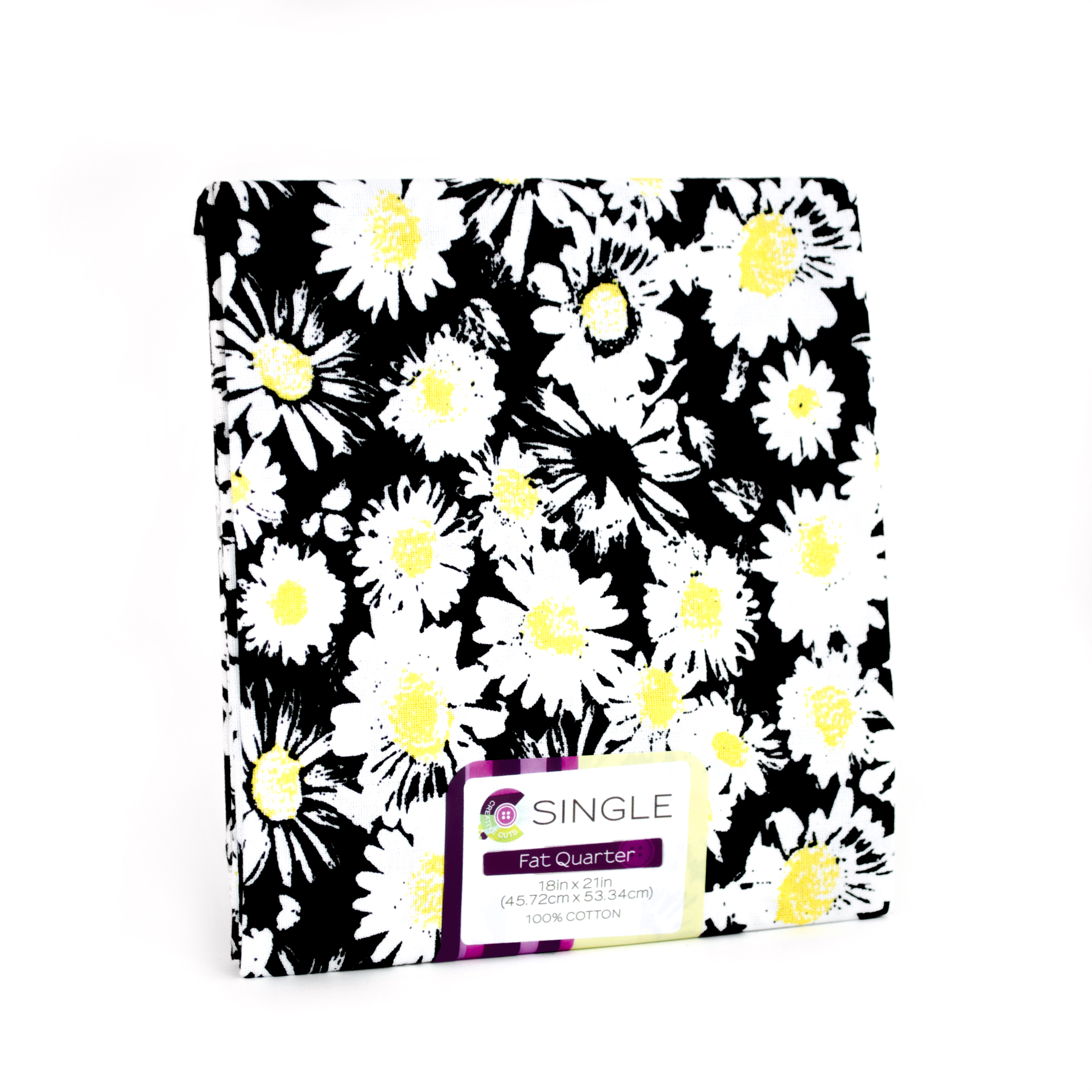 "Fabric Editions- Cotton Fabric, Fat Quarter, 18"" x 21"" DITZY DAISY ONYX"
