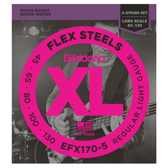 D'Addario Flexsteels Long Scale 5-String Bass Guitar Strings (45-130) by
