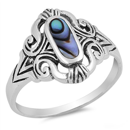 925 Sterling Silver Shell - Long Simulated Abalone Fluer De Lis Design Ring New .925 Sterling Silver Band Size 9
