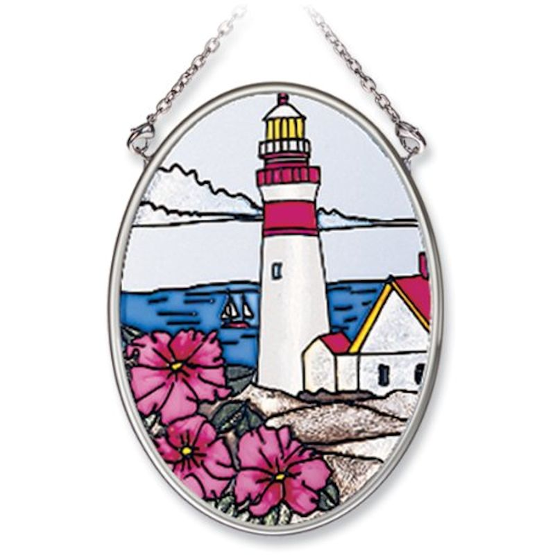 Amia Studios 7793 Pansies Lighthouse Small Oval Suncatcher