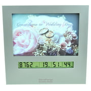 Wedding Countdown Clock with Large Digital Display Day Timer & 4x6 Picture Frame, Fun Reusable Advent Calendar or Count Down to New Baby