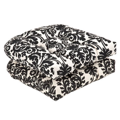 Pillow Perfect Outdoor/ Indoor Essence Black|Beige Wicker Seat Cushion (Set of 2)