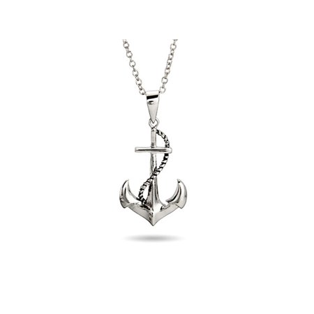 Sterling Silver Sailors Nautical Anchor Pendant Necklace, 16