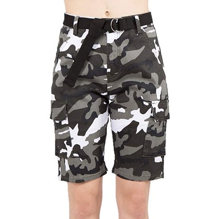 Love Moda Women's Camouflage Belted Cargo Bermuda Shorts (City, Small, #Rss2050) (Ash City Ladies Short)