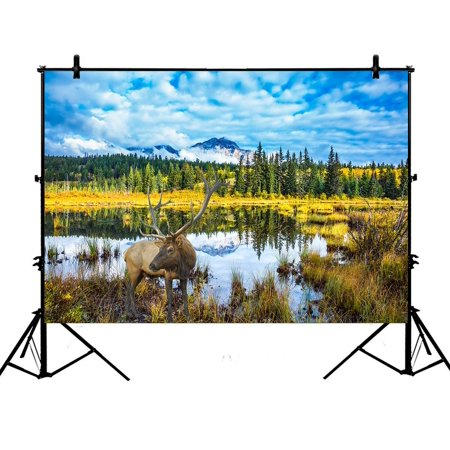 PHFZK 7x5ft Autumn Landscape Backdrops, Deer Reindeer Blue Sky Rocky Moutain Photography Backdrops Polyester Photo Background Studio Props