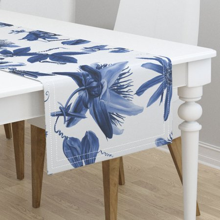 (Table Runner Floral Tropical Hawaiian Flowers Botanical Blue And Cotton Sateen)
