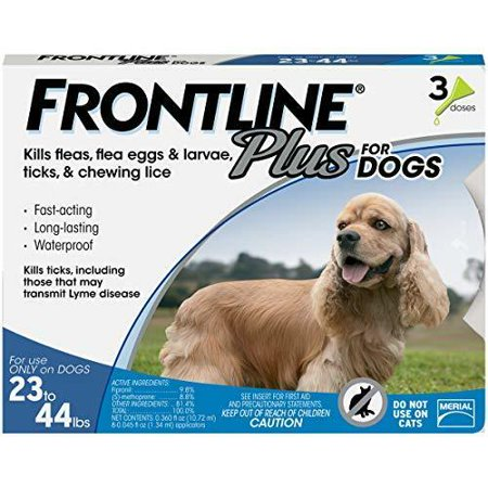 FRONTLINE Plus for Medium Dogs (23-44 lbs) Flea and Tick Treatment, 3
