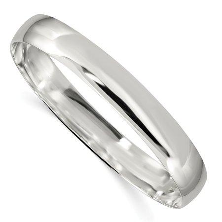 Sterling Silver 9.75 MM Solid Polished Plain Slip-On Bangle Bracelet, 7.5