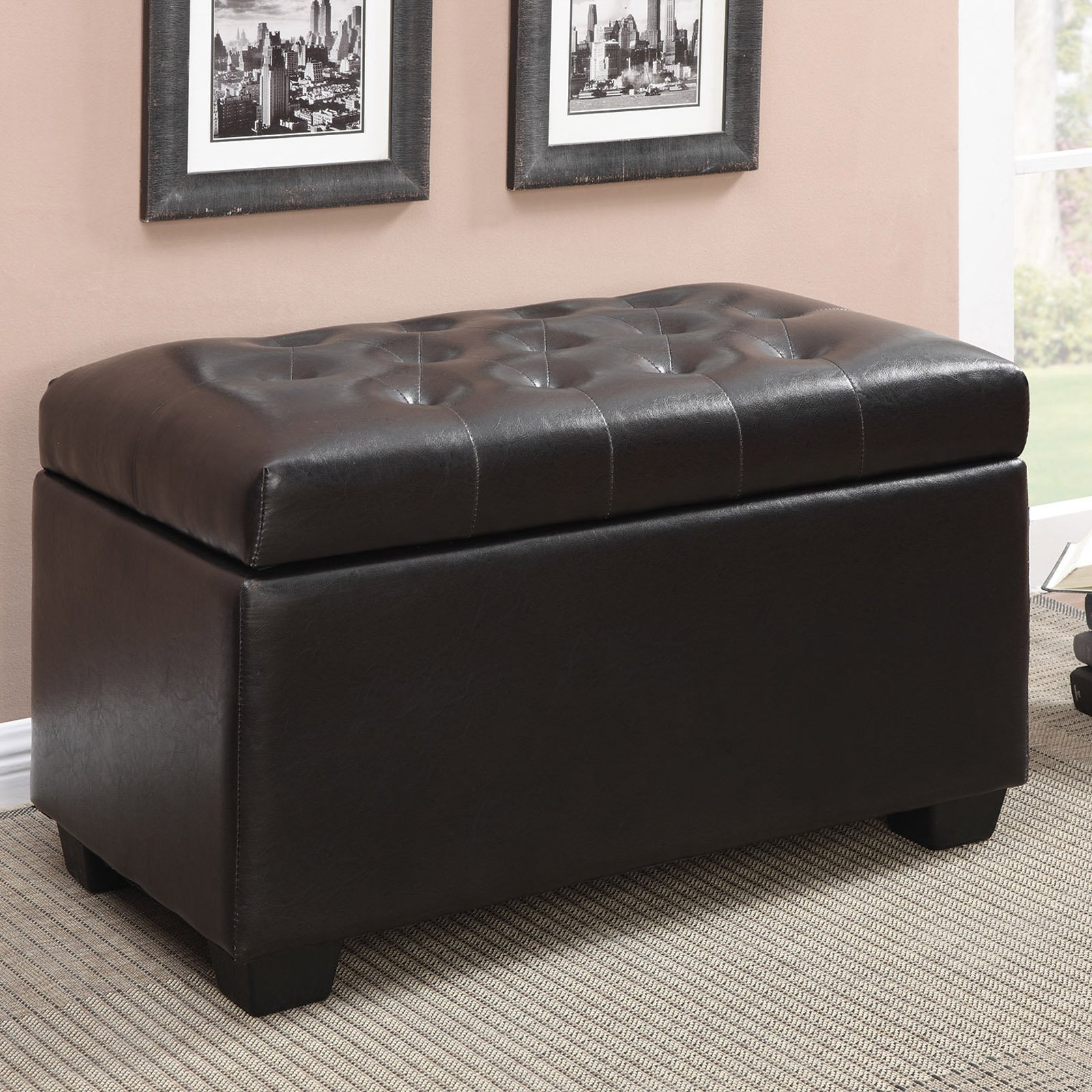 Coaster Tufted Seating Storage Ottoman, Dark Brown by Coaster Company