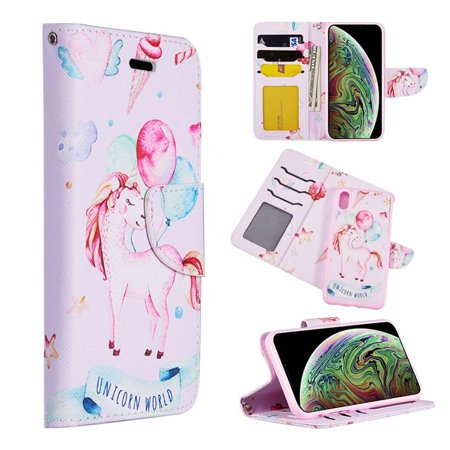 Detachable Id Window - Dream Wireless LPFIPXSM-TRNDY-UCW The Detachable Trendy Leather Flip Wallet Case with ID Window Card Slots for iPhone XS Max - Unicorn World