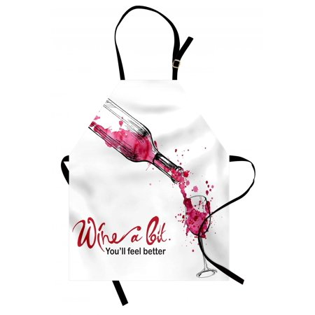 Wine Apron Wine a Bit You Feel Better Inspirational Quote Bottle Pouring Sketch Art, Unisex Kitchen Bib Apron with Adjustable Neck for Cooking Baking Gardening, Pink Dark Coral Black, by Ambesonne