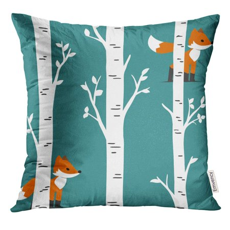ARHOME Colorful Animal Nursery Woodland Baby Room Forest Prints Fox with Birch Trees and Leaves Design Orange Pillow Case 16x16 Inches Pillowcase - Woodland Fox